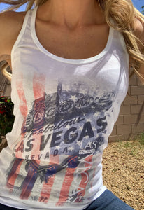 Vegas Royalty Americana Welcome Sign Racerback Tank Top