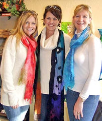 Showing off some of our handmade felted scarves