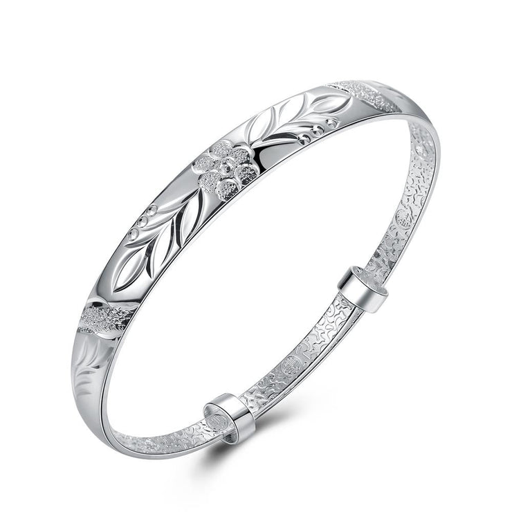 Floral Diamond Laser Cut Bangle in 18K White Gold Plated - Lenox Jewelers Corp.