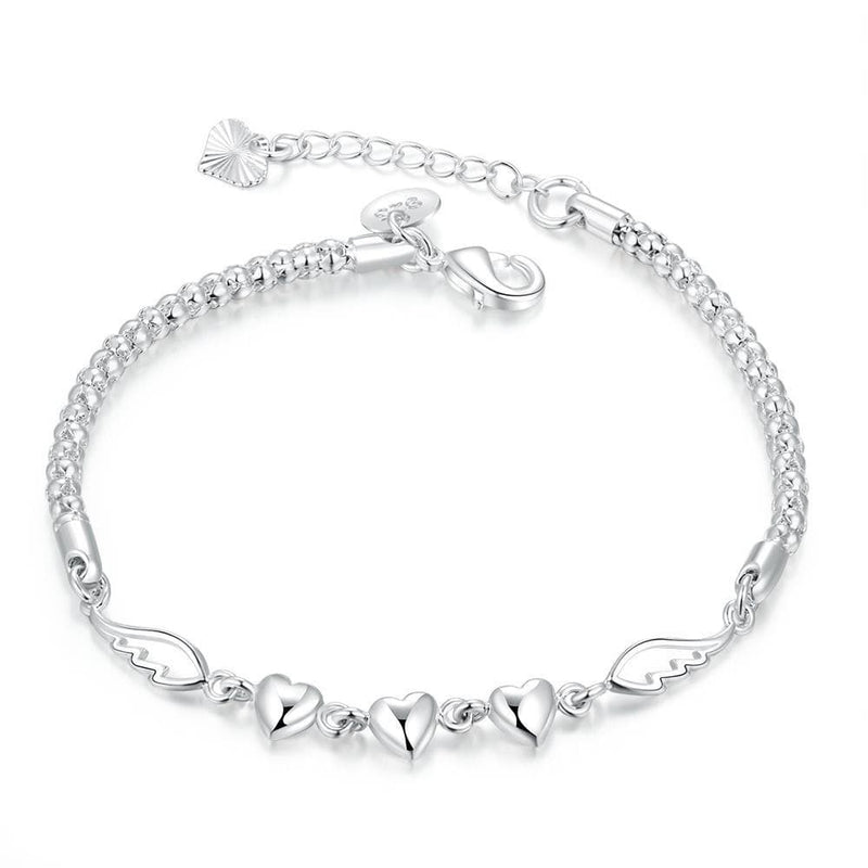 Angles Wings Triple Heart Bracelet in 18K White Gold Plated - Lenox Jewelers Corp.