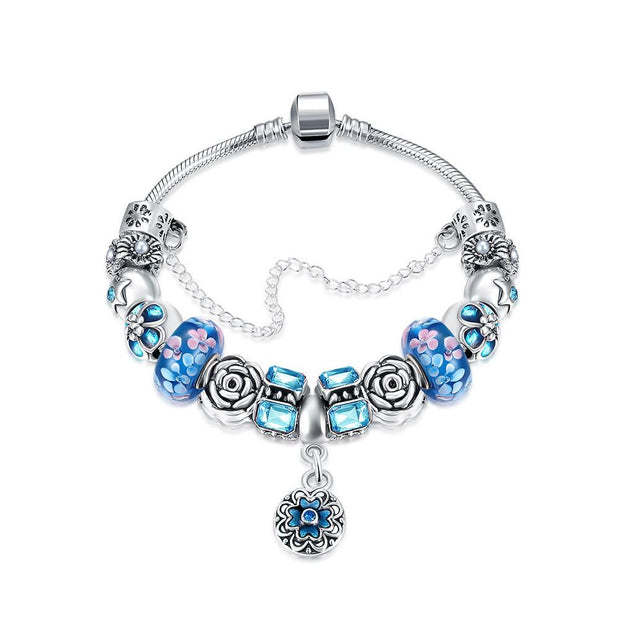 Royal Sky Blue Petite Emblem Pandora Inspired Bracelet Made with Swarovski Elements - Lenox Jewelers Corp.