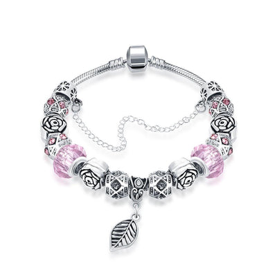 Petite Bubble Gum Pink Leaf Branch Pandora Inspired Bracelet Made with Swarovski Elements - Lenox Jewelers Corp.