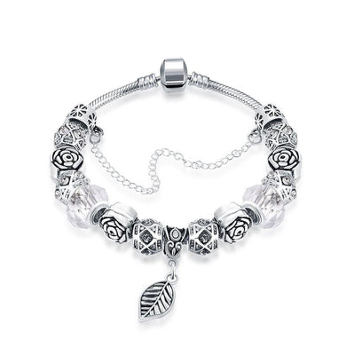 Petite Ivory Cream Leaf Branch Pandora Inspired Bracelet Made with Swarovski Elements - Lenox Jewelers Corp.
