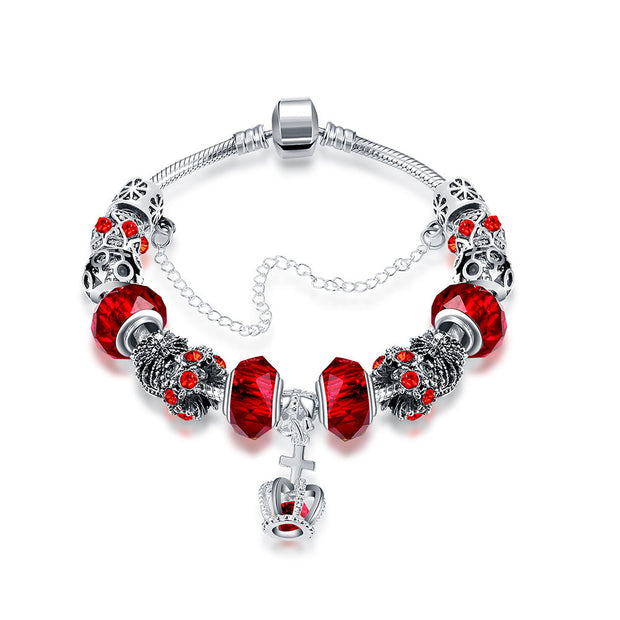 Royal Ruby Crown Jewel Pandora Inspired Bracelet Made with Swarovski Elements - Lenox Jewelers Corp.
