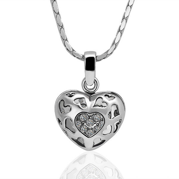 White Gold Plated Laser Cut Petite Heart Necklace