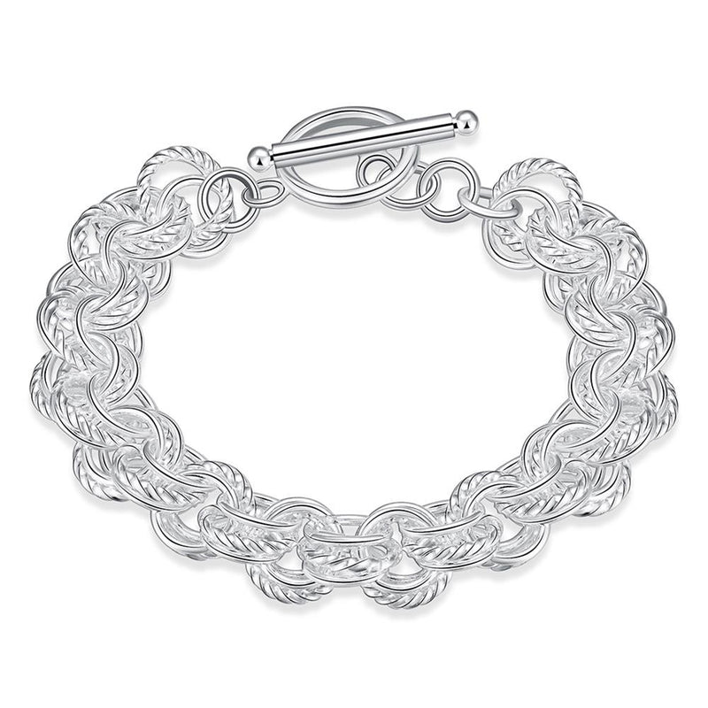 Linked Circles Bracelet in 18K White Gold Plated - Lenox Jewelers Corp.