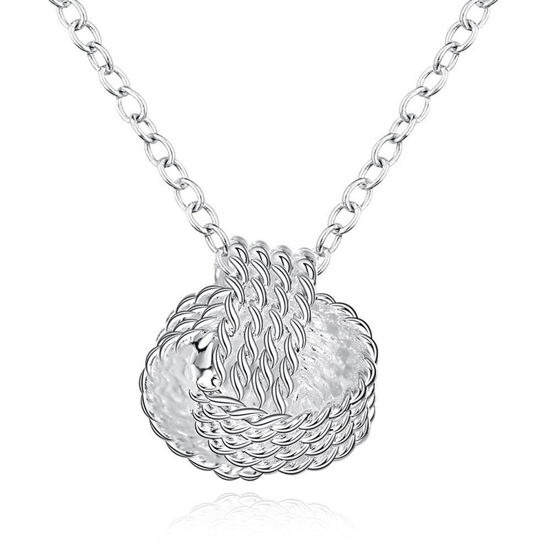 Mesh Ball Knot Necklace in 18K White Gold Plated - Lenox Jewelers Corp.