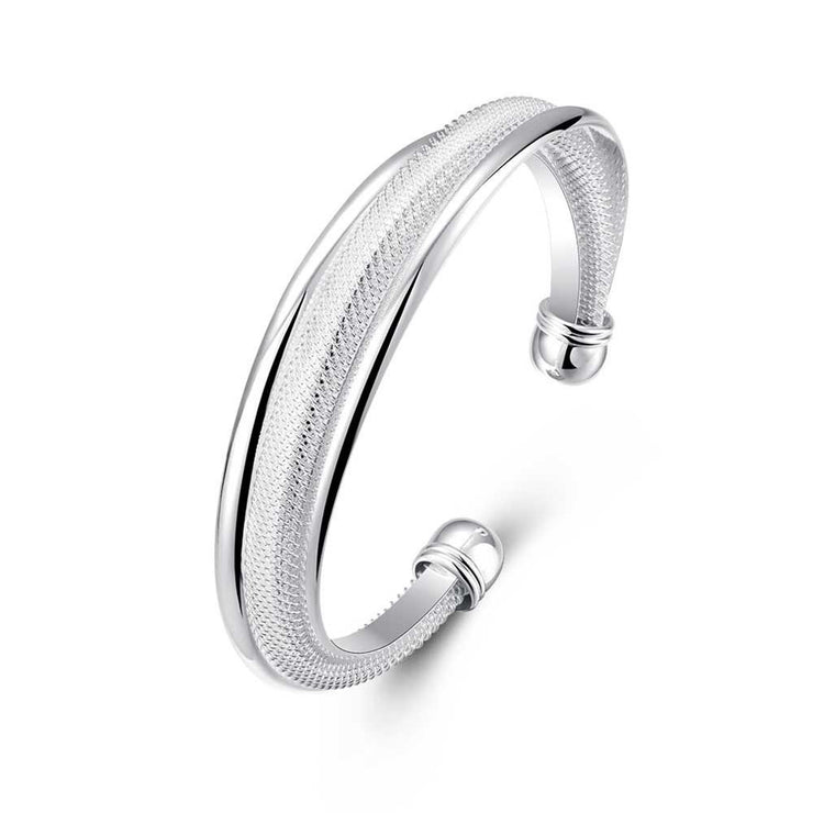 Double Layer Mesh Bangle in 18K White Gold Plated - Lenox Jewelers Corp.