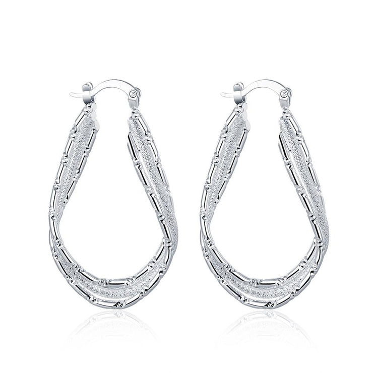 Diamond Cut Inception Hoop Drop Earring in White Gold Plated - Lenox Jewelers Corp.
