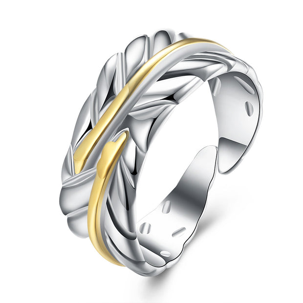 Leaf Ring Adjustable in White Gold Plated - Lenox Jewelers Corp.