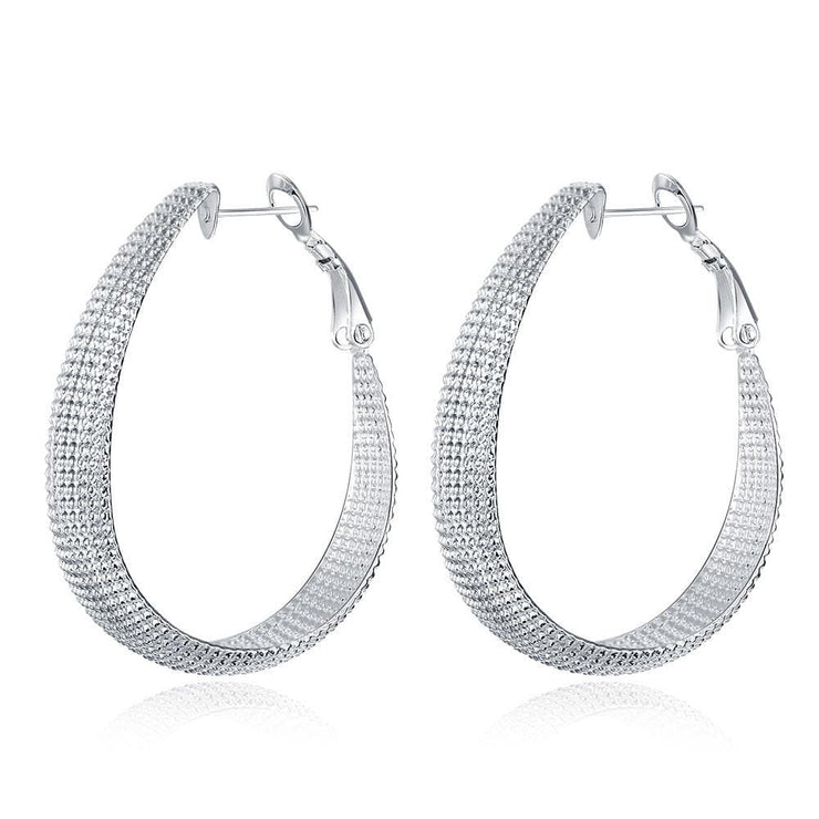 Beaded Hoop 4mm Earring in White Gold Plated - Lenox Jewelers Corp.