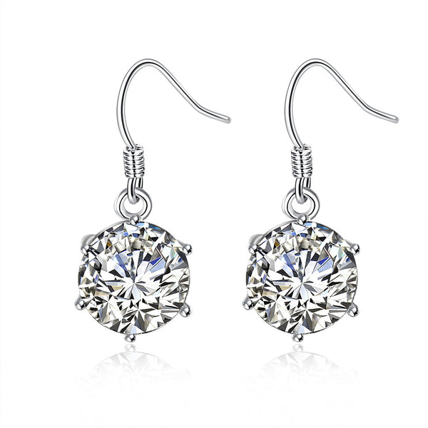 Snowflake Drop Earring in White Gold Plated - Lenox Jewelers Corp.