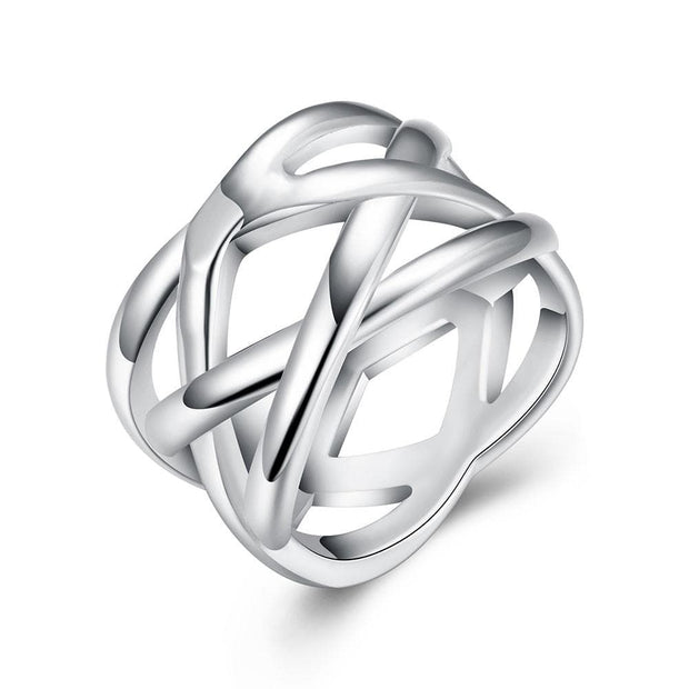 18K White Gold Plated Criss Cross X Ring - Lenox Jewelers Corp.