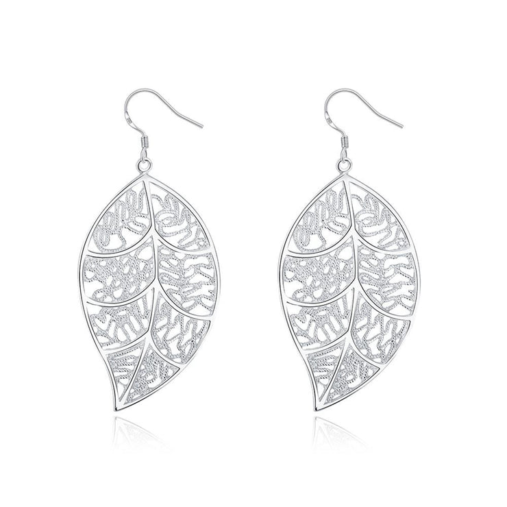 Filigree Leaf Earring in White Gold Plated - Lenox Jewelers Corp.