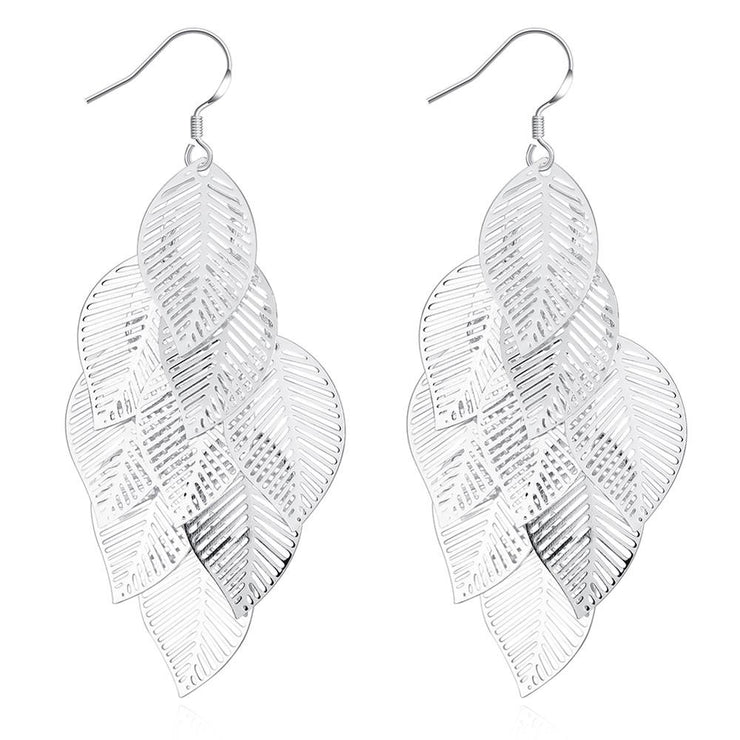 Leaf Drop Earring in White Gold Plated - Lenox Jewelers Corp.