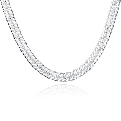 Figaro Chain Necklace in 18K White Gold Plated - Lenox Jewelers Corp.