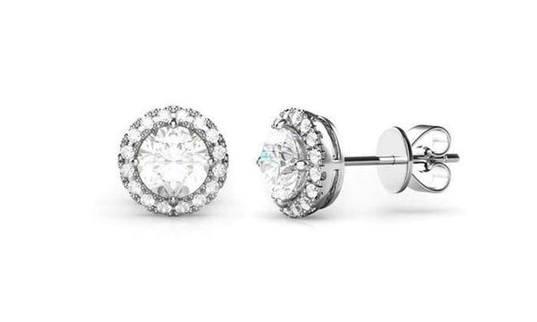 3.44 CTTW Halo Stud Earrings with Swarovski Element Crystals - Lenox Jewelers Corp.