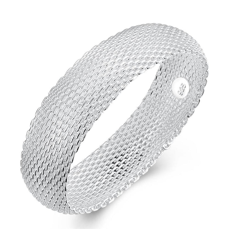 Mesh Bangle in 18K White Gold Plated - Lenox Jewelers Corp.