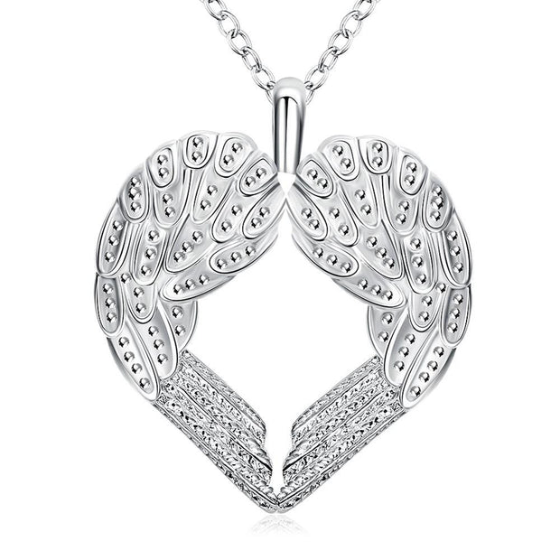 Wings of an Angel Necklace in 18K White Gold Plated