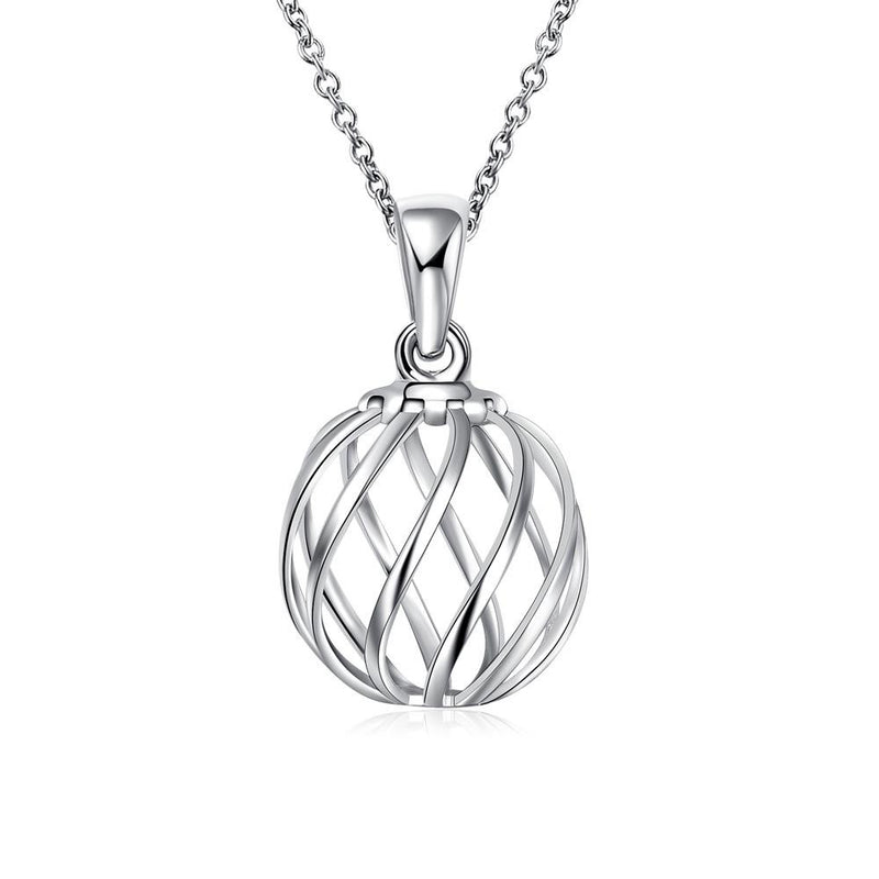 Intertwined Ball Necklace in 18K White Gold Plated - Lenox Jewelers Corp.