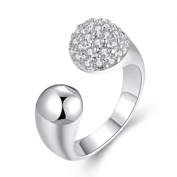 Pave in Swarovski Crystals Adjustable Ring in White Gold - Lenox Jewelers Corp.