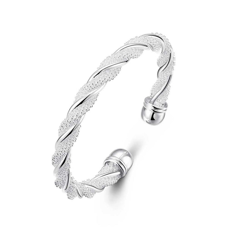 Twisted Mesh Bracelet in Sterling Silver  Plated