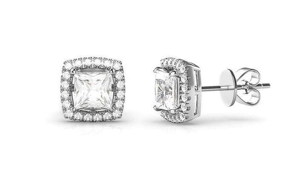 3.44 CTTW Halo Stud Earrings Made with Swarovski Elements Crystals - Lenox Jewelers Corp.