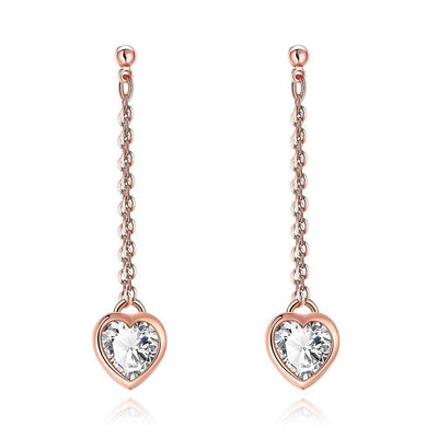 Heart Drop White Topaz Stud Earrings - Lenox Jewelers Corp.