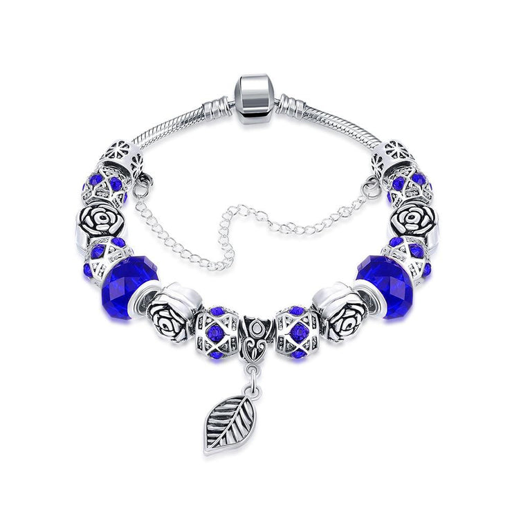 Dark Royal Blue Leaf Branch Pandora Inspired Bracelet Made with Swarovski Elements - Lenox Jewelers Corp.