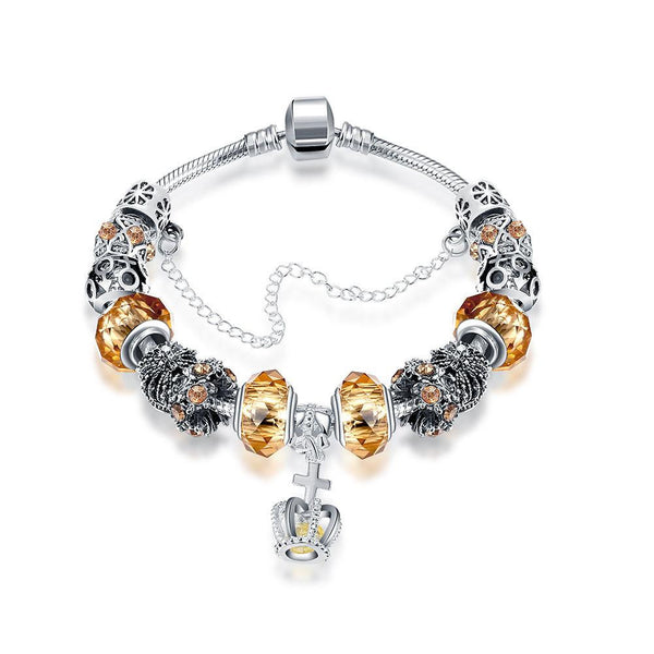 Royal Yellow Citrine Crown Jewel Pandora Inspired Bracelet Made with Swarovski Elements - Lenox Jewelers Corp.
