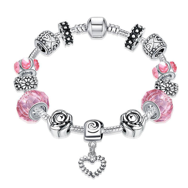 Rose Quartz Pandora Inspired Bracelet Made with Swarovski Elements - Lenox Jewelers Corp.
