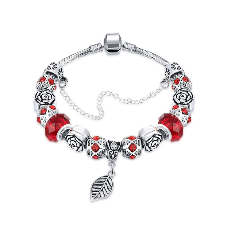 Dark Ruby Red Leaf Branch Pandora Inspired Bracelet Made with Swarovski Elements - Lenox Jewelers Corp.