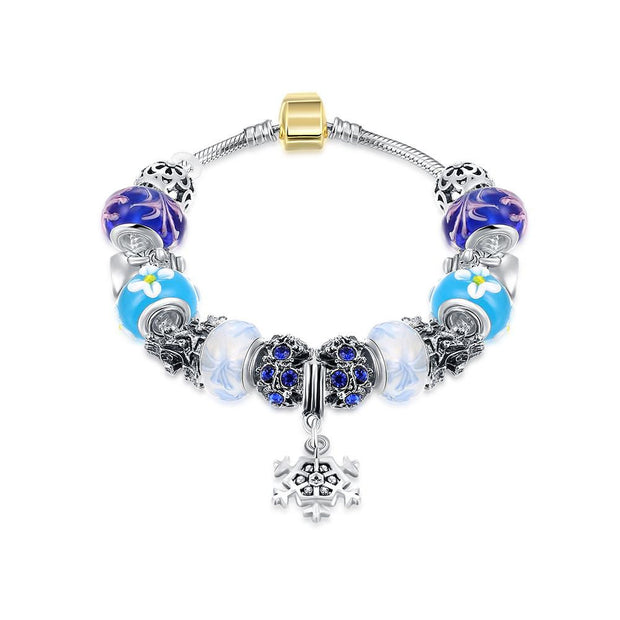 Royal Blue Star of David Pandora Inspired Bracelet Made with Swarovski Elements - Lenox Jewelers Corp.
