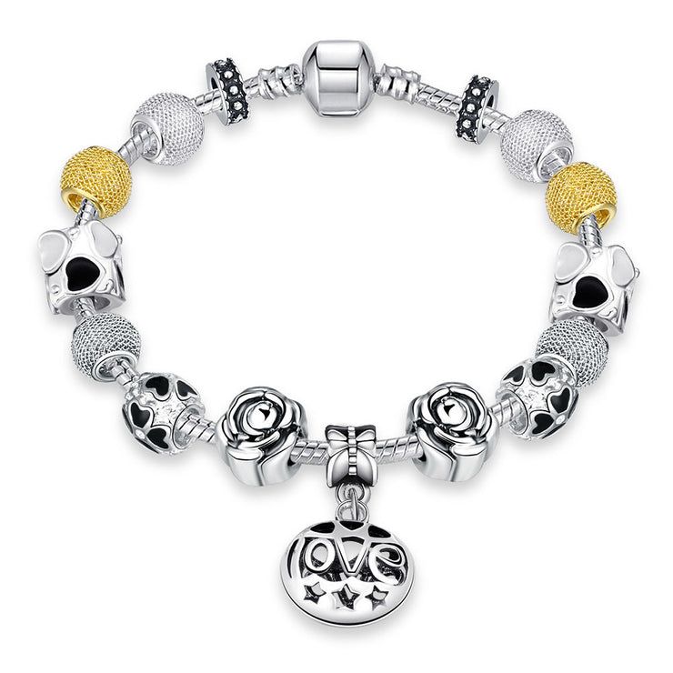 Golden Love Pandora Inspired Bracelet Made with Swarovski Elements - Lenox Jewelers Corp.