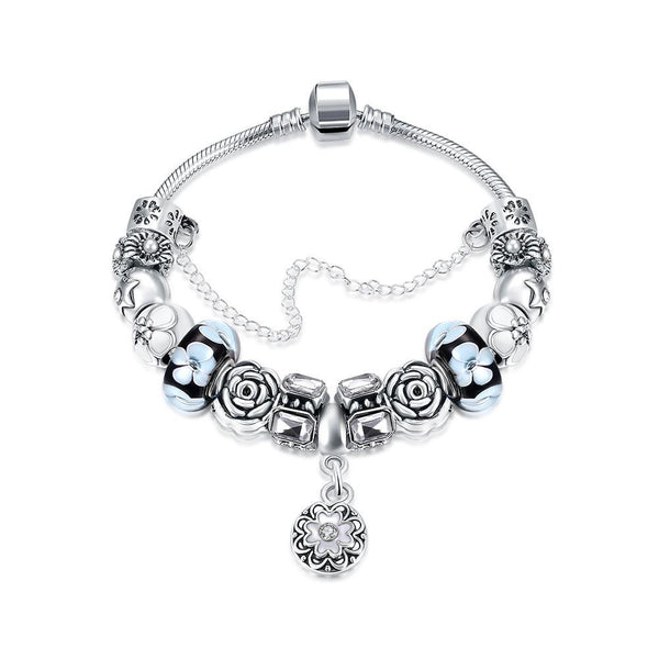 Royal Floral Petite Emblem Pandora Inspired Bracelet Made with Swarovski Elements - Lenox Jewelers Corp.