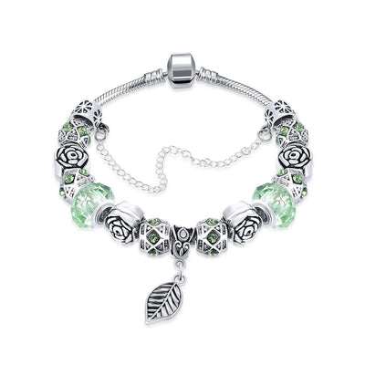 Light Green Leaf Branch Pandora Inspired Bracelet Made with Swarovski Elements - Lenox Jewelers Corp.