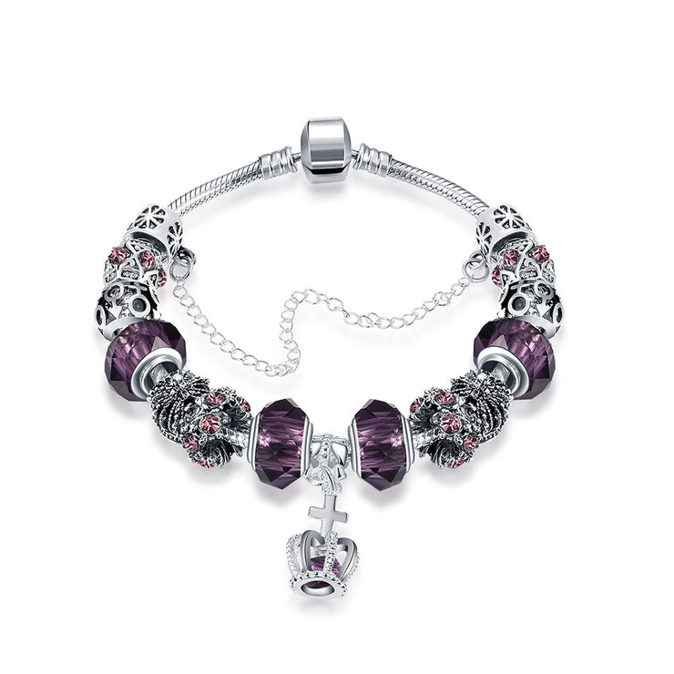 Royal Sapphire Crown Jewel Pandora Inspired Bracelet Made with Swarovski Elements - Lenox Jewelers Corp.