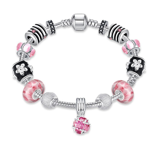 Roses in Pink Pandora Inspired Bracelet Made with Swarovski Elements - Lenox Jewelers Corp.