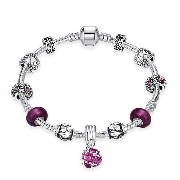 Amethyst Crystal Pandora Inspired Bracelet Made with Swarovski Elements - Lenox Jewelers Corp.