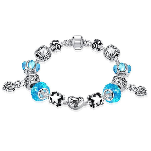 Aquamarine Crystal Smile Pandora Inspired Bracelet Made with Swarovski Elements - Lenox Jewelers Corp.