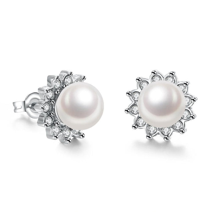 18K White Gold Plated Pearl Star Studded Earrings - Lenox Jewelers Corp.