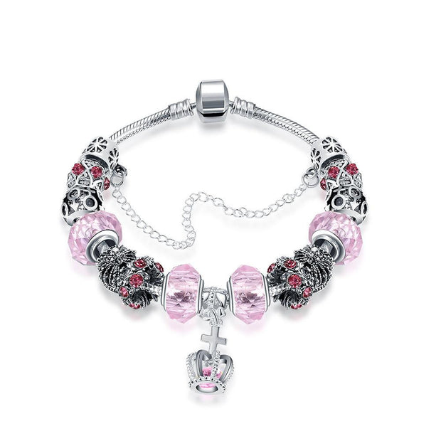 Royal Coral Crown Jewel Pandora Inspired Bracelet Made with Swarovski Elements - Lenox Jewelers Corp.