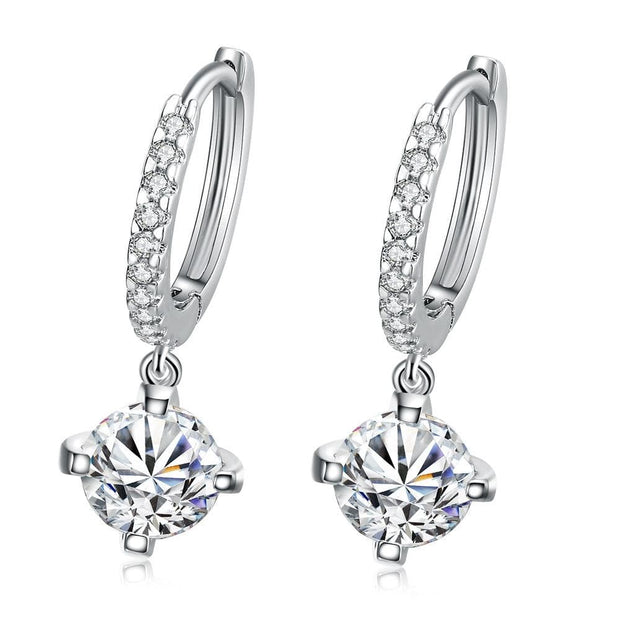 18K White Gold Plated Classic Drop Earring - Lenox Jewelers Corp.