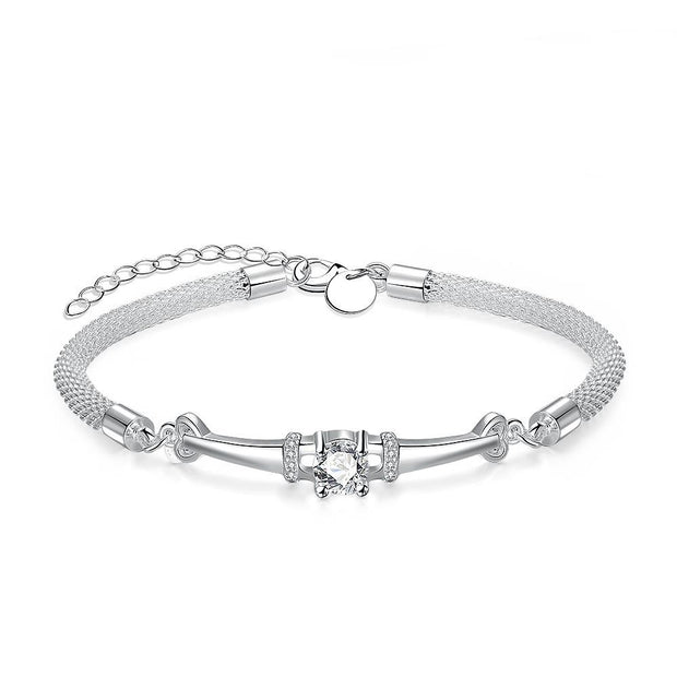 Swarovski Crystal Mesh Bracelet in 18K White Gold Plated