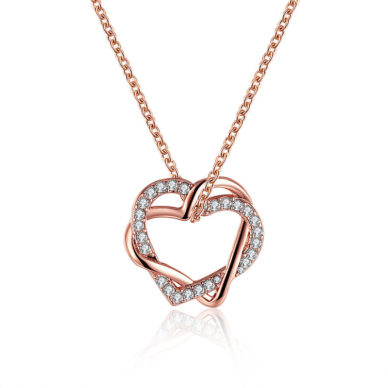 Rose Gold Plated Crystal Inlay Necklace - Lenox Jewelers Corp.