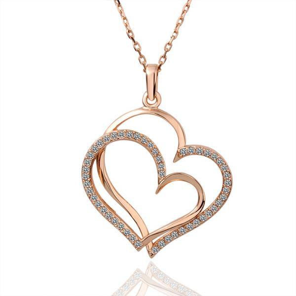 Rose Gold Plated Double Overlayering Heart Necklace - Lenox Jewelers Corp.