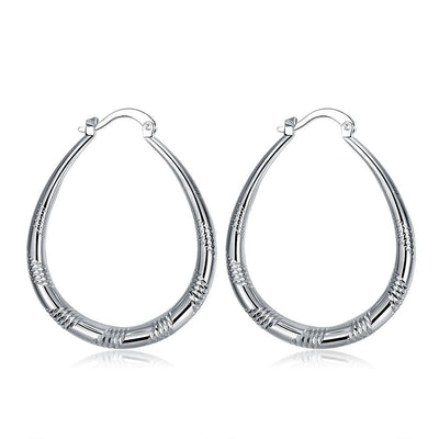 18K White Gold Plated Line Cutting Hoop Earring - Lenox Jewelers Corp.