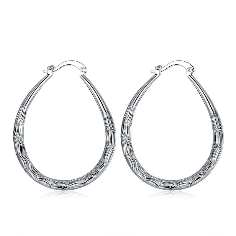 18K White Gold Plated Modern & Abstract Hoop Earring - Lenox Jewelers Corp.