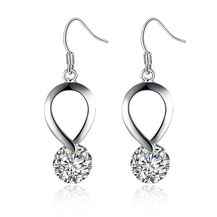 18K White Gold Plated Crystal Loop Earring - Lenox Jewelers Corp.