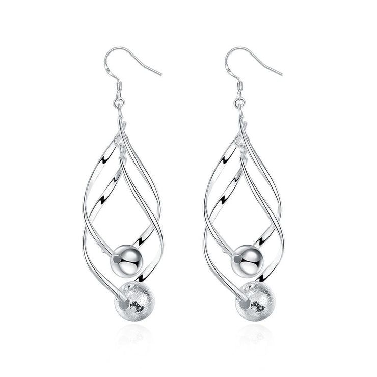 18K White Gold Plated Interlocking Spiral Earring with Pearls - Lenox Jewelers Corp.